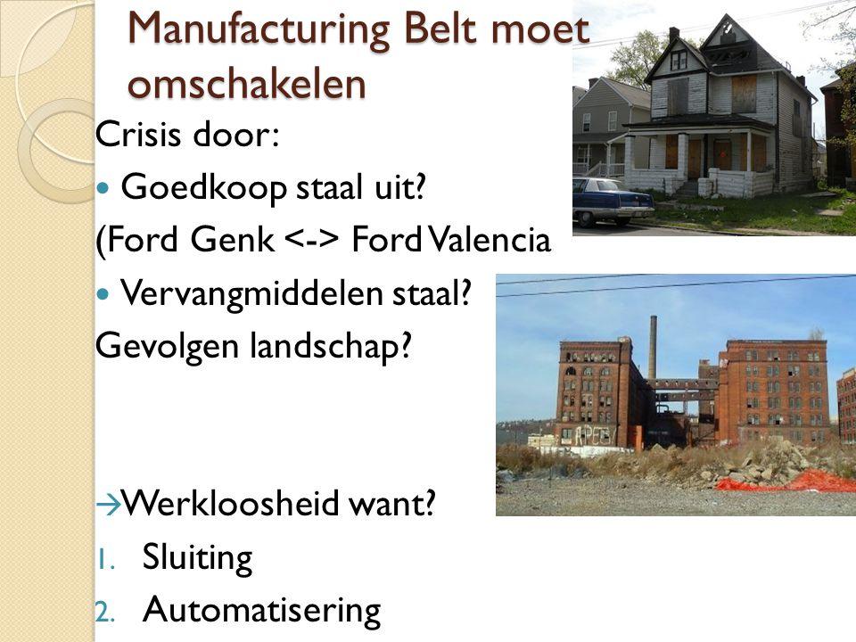 Manufacturing Belt moet omschakelen Crisis door: Goedkoop staal uit? (Ford Genk Ford Valencia Vervangmiddelen staal? Gevolgen landschap?  Werklooshei