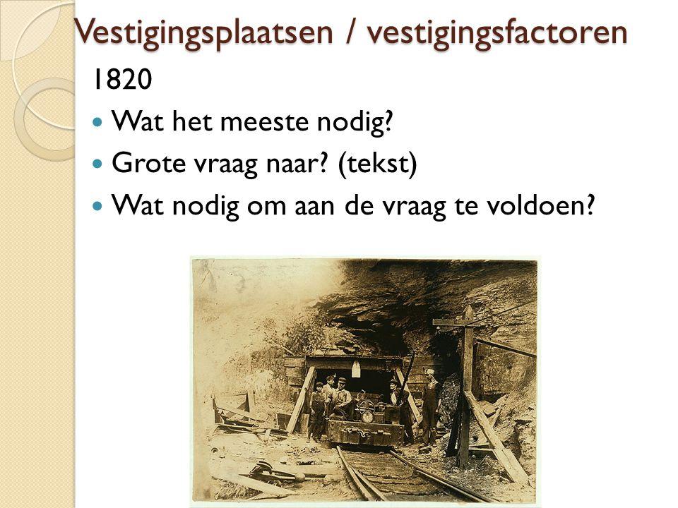 Vestigingsplaatsen / vestigingsfactoren 1820 Wat het meeste nodig? Grote vraag naar? (tekst) Wat nodig om aan de vraag te voldoen?