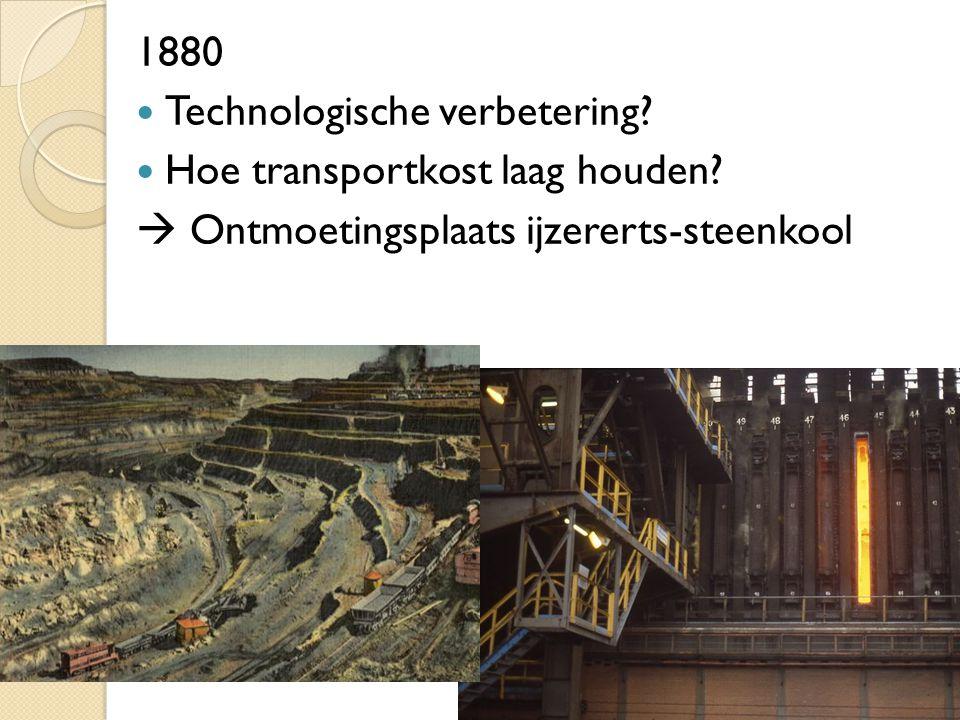1880 Technologische verbetering? Hoe transportkost laag houden?  Ontmoetingsplaats ijzererts-steenkool