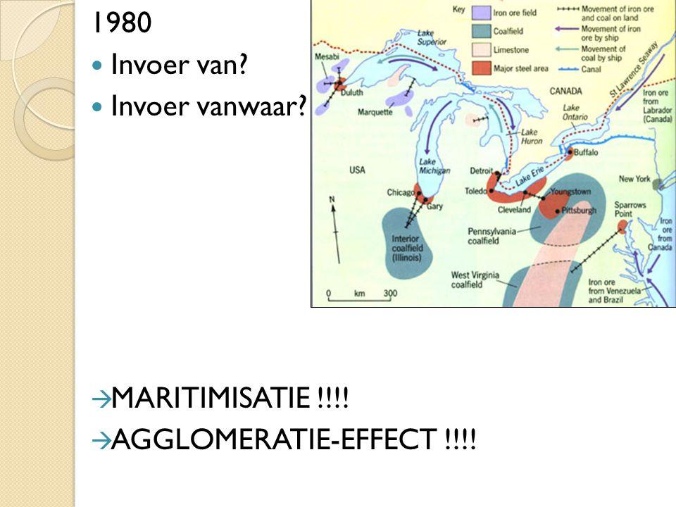 1980 Invoer van? Invoer vanwaar?  MARITIMISATIE !!!!  AGGLOMERATIE-EFFECT !!!!
