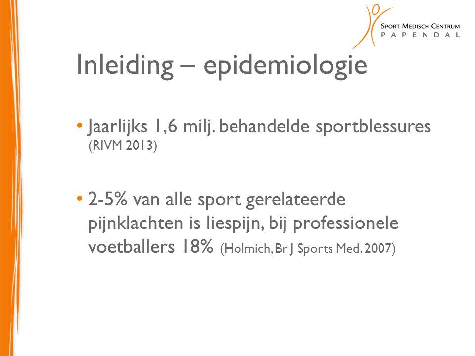 Inleiding – epidemiologie Jaarlijks 1,6 milj. behandelde sportblessures (RIVM 2013) 2-5% van alle sport gerelateerde pijnklachten is liespijn, bij pro
