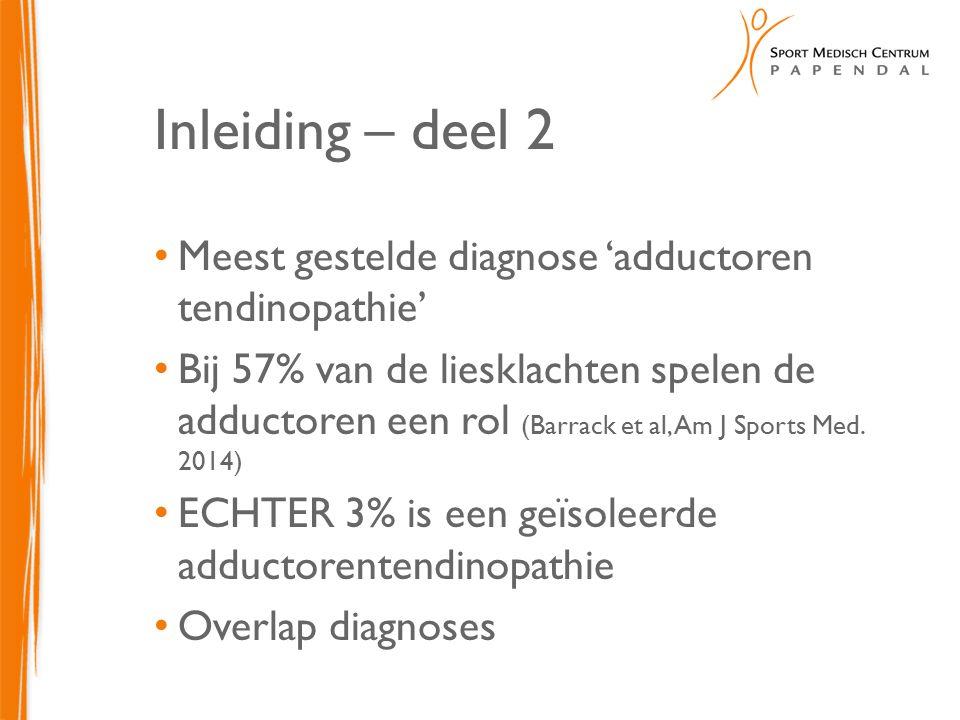 Inleiding – deel 2 Meest gestelde diagnose 'adductoren tendinopathie' Bij 57% van de liesklachten spelen de adductoren een rol (Barrack et al, Am J Sp
