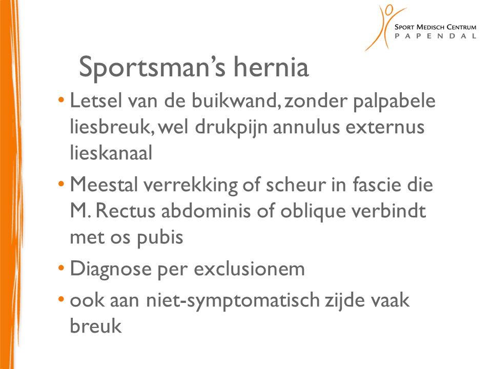 Sportsman's hernia Letsel van de buikwand, zonder palpabele liesbreuk, wel drukpijn annulus externus lieskanaal Meestal verrekking of scheur in fascie