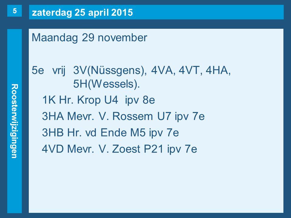 zaterdag 25 april 2015 Roosterwijzigingen Maandag 29 november 5evrij3V(Nüssgens), 4VA, 4VT, 4HA, 5H(Wessels).