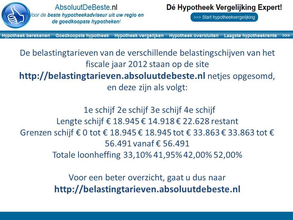 De belastingtarieven van de verschillende belastingschijven van het fiscale jaar 2012 staan op de site http://belastingtarieven.absoluutdebeste.nl net