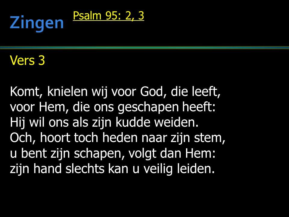Vers 3 Komt, knielen wij voor God, die leeft, voor Hem, die ons geschapen heeft: Hij wil ons als zijn kudde weiden.