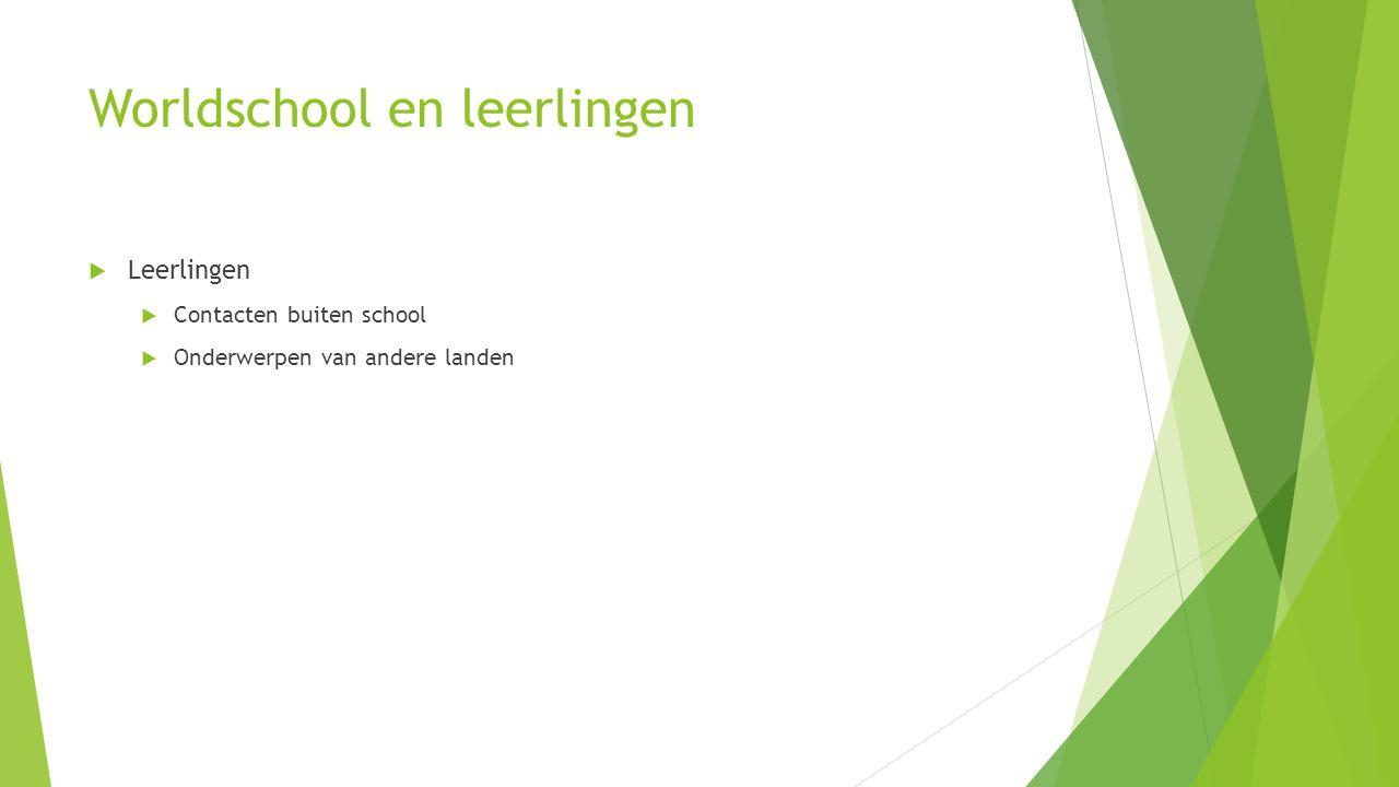 Worldschool en leerlingen  Leerlingen  Contacten buiten school  Onderwerpen van andere landen
