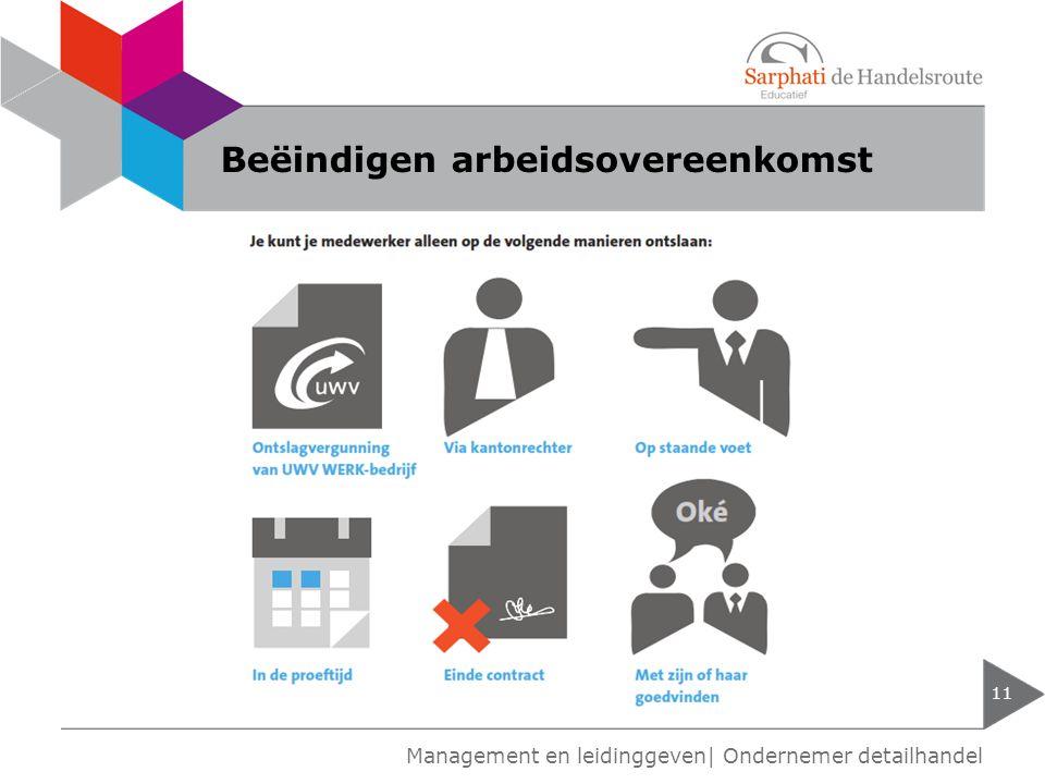 Beëindigen arbeidsovereenkomst 11 Management en leidinggeven| Ondernemer detailhandel