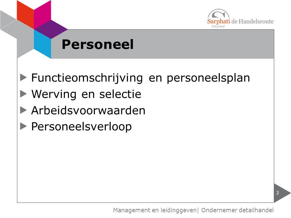 Functieomschrijving en personeelsplan Werving en selectie Arbeidsvoorwaarden Personeelsverloop 2 Personeel Management en leidinggeven| Ondernemer deta