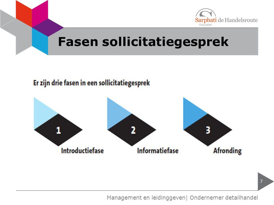 Fasen sollicitatiegesprek 7 Management en leidinggeven| Ondernemer detailhandel