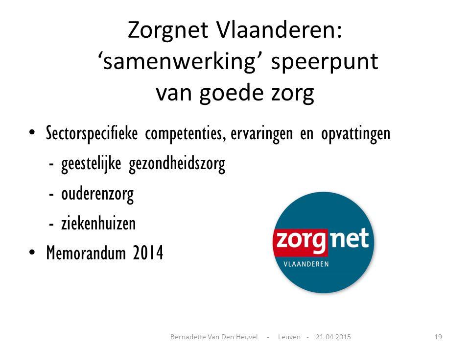 Zorgnet Vlaanderen: 'samenwerking' speerpunt van goede zorg Sectorspecifieke competenties, ervaringen en opvattingen - geestelijke gezondheidszorg - o