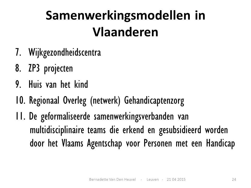 Samenwerkingsmodellen in Vlaanderen 7. Wijkgezondheidscentra 8. ZP3 projecten 9. Huis van het kind 10. Regionaal Overleg (netwerk) Gehandicaptenzorg 1