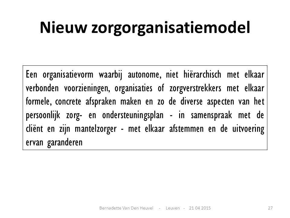 Nieuw zorgorganisatiemodel Een organisatievorm waarbij autonome, niet hiërarchisch met elkaar verbonden voorzieningen, organisaties of zorgverstrekker