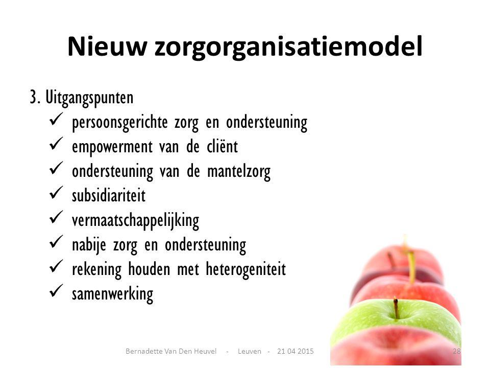 Nieuw zorgorganisatiemodel 3. Uitgangspunten persoonsgerichte zorg en ondersteuning empowerment van de cliënt ondersteuning van de mantelzorg subsidia