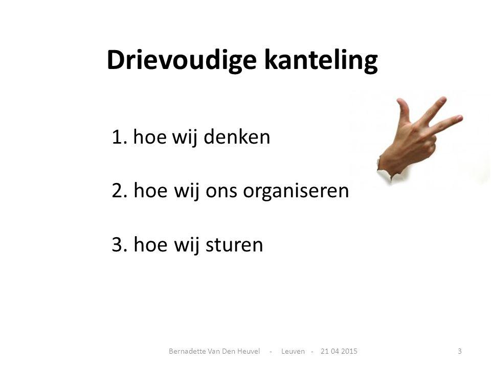 Drievoudige kanteling 1. hoe wij denken 2. hoe wij ons organiseren 3. hoe wij sturen Bernadette Van Den Heuvel - Leuven - 21 04 20153