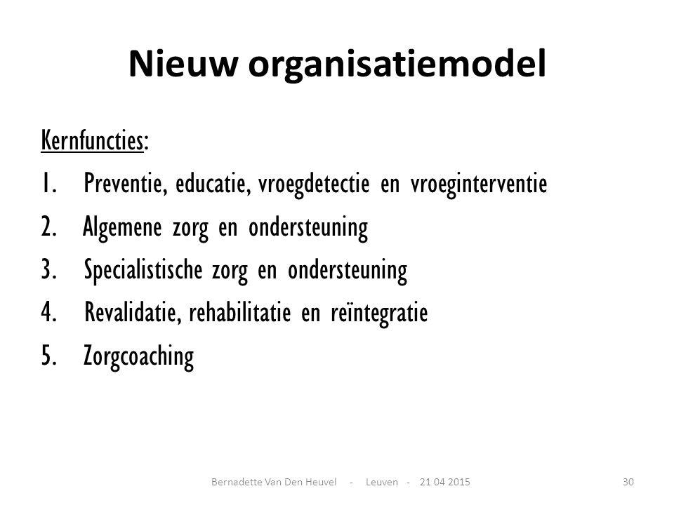 Nieuw organisatiemodel Kernfuncties: 1. Preventie, educatie, vroegdetectie en vroeginterventie 2. Algemene zorg en ondersteuning 3. Specialistische zo