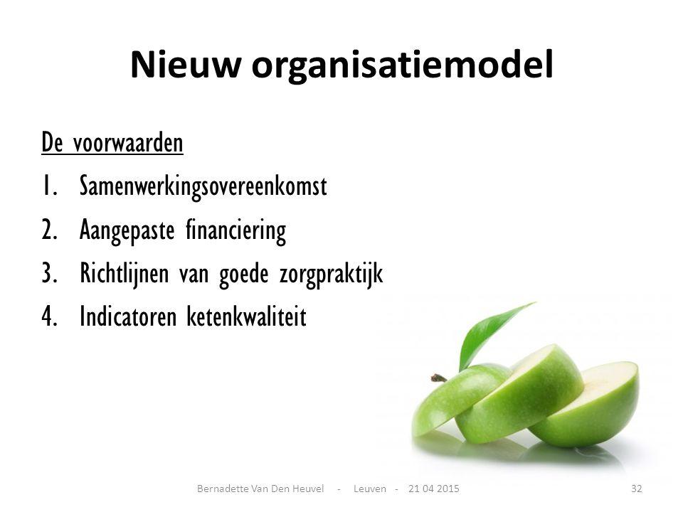 Nieuw organisatiemodel De voorwaarden 1.Samenwerkingsovereenkomst 2.Aangepaste financiering 3.Richtlijnen van goede zorgpraktijk 4.Indicatoren ketenkw
