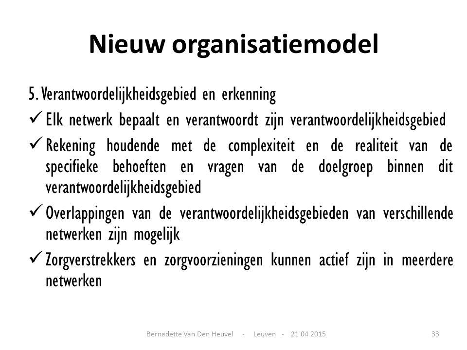 Nieuw organisatiemodel 5. Verantwoordelijkheidsgebied en erkenning Elk netwerk bepaalt en verantwoordt zijn verantwoordelijkheidsgebied Rekening houde