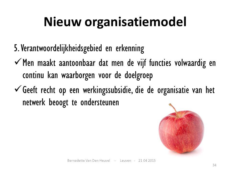 Nieuw organisatiemodel 5. Verantwoordelijkheidsgebied en erkenning Men maakt aantoonbaar dat men de vijf functies volwaardig en continu kan waarborgen