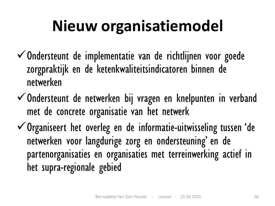 Nieuw organisatiemodel Ondersteunt de implementatie van de richtlijnen voor goede zorgpraktijk en de ketenkwaliteitsindicatoren binnen de netwerken On