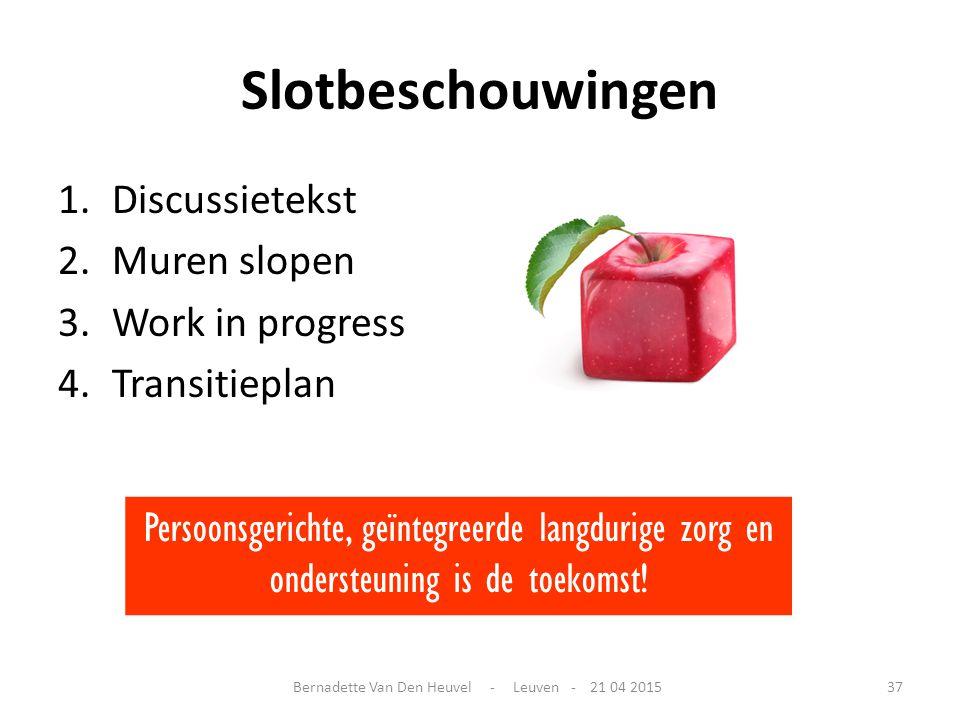 Slotbeschouwingen 1.Discussietekst 2.Muren slopen 3.Work in progress 4.Transitieplan Persoonsgerichte, geïntegreerde langdurige zorg en ondersteuning