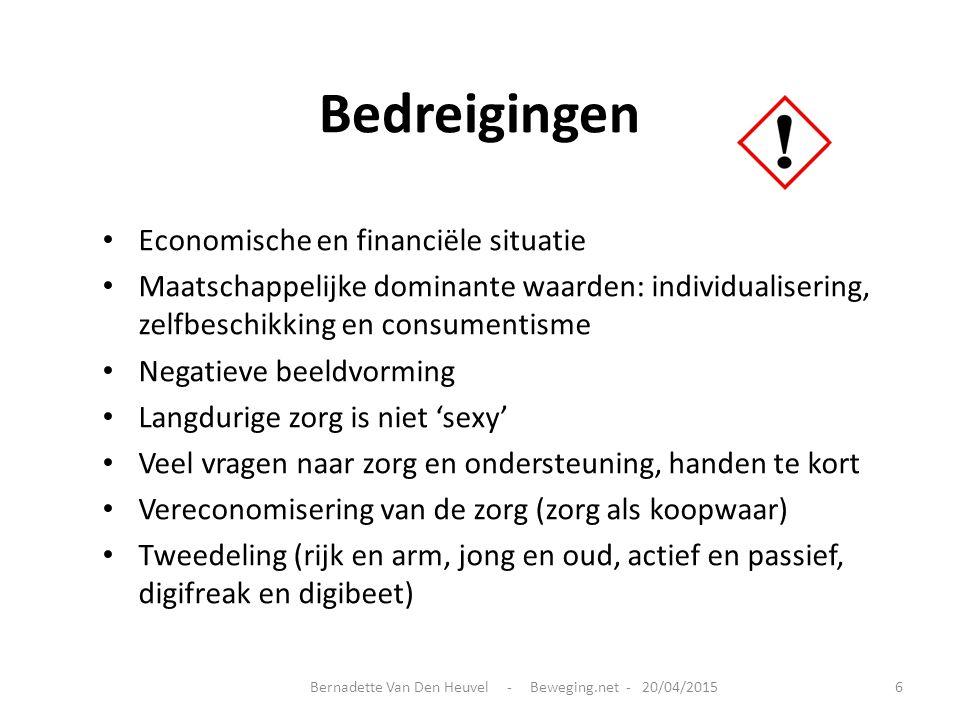 Bedreigingen Economische en financiële situatie Maatschappelijke dominante waarden: individualisering, zelfbeschikking en consumentisme Negatieve beel