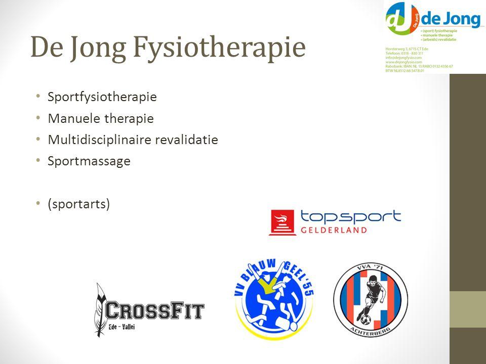 De Jong Fysiotherapie Sportfysiotherapie Manuele therapie Multidisciplinaire revalidatie Sportmassage (sportarts)