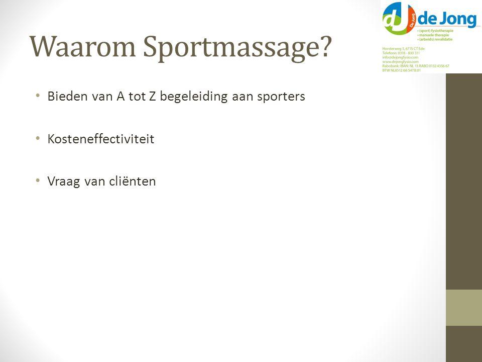 Waarom Sportmassage.