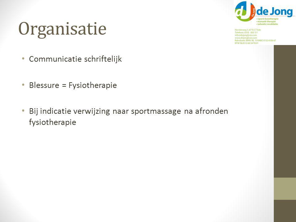 Organisatie Communicatie schriftelijk Blessure = Fysiotherapie Bij indicatie verwijzing naar sportmassage na afronden fysiotherapie