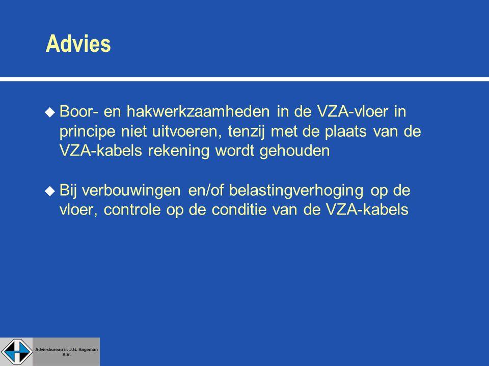 Advies u Boor- en hakwerkzaamheden in de VZA-vloer in principe niet uitvoeren, tenzij met de plaats van de VZA-kabels rekening wordt gehouden u Bij verbouwingen en/of belastingverhoging op de vloer, controle op de conditie van de VZA-kabels
