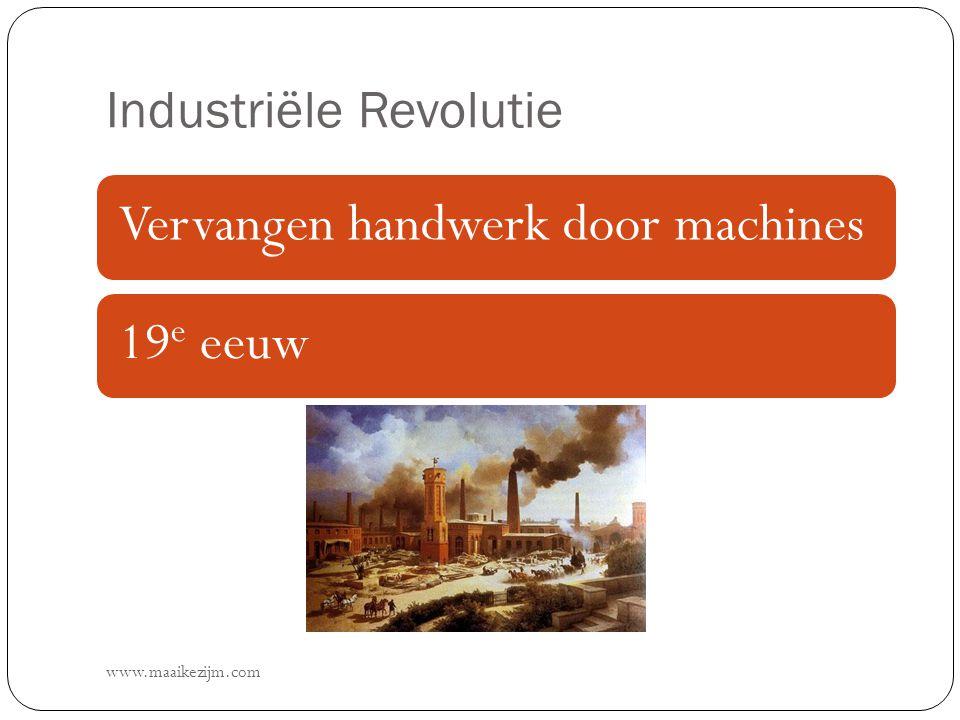 Industriële Revolutie www.maaikezijm.com Vervangen handwerk door machines19 e eeuw