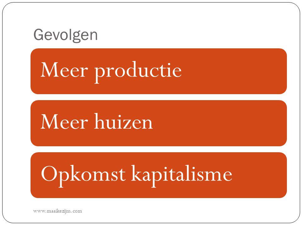 Gevolgen www.maaikezijm.com Meer productieMeer huizenOpkomst kapitalisme