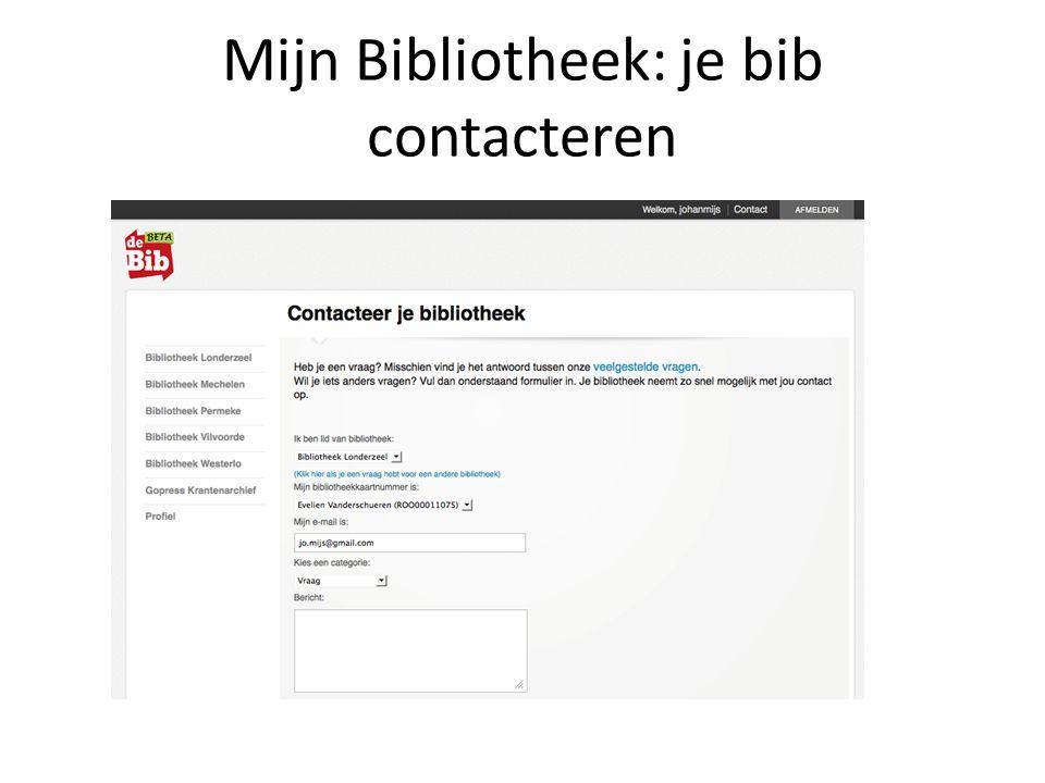 Mijn Bibliotheek: je bib contacteren