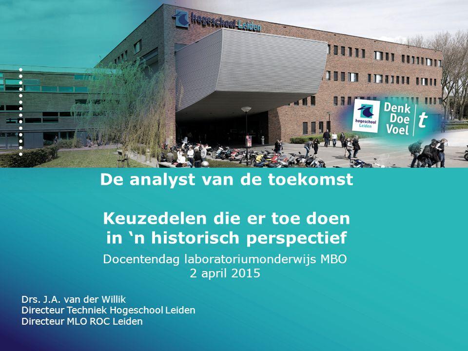 De analyst van de toekomst Keuzedelen die er toe doen in 'n historisch perspectief Docentendag laboratoriumonderwijs MBO 2 april 2015 Drs. J.A. van de