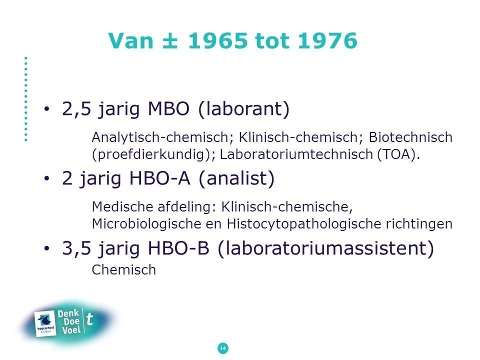 Van ± 1965 tot 1976 2,5 jarig MBO (laborant) Analytisch-chemisch; Klinisch-chemisch; Biotechnisch (proefdierkundig); Laboratoriumtechnisch (TOA). 2 ja