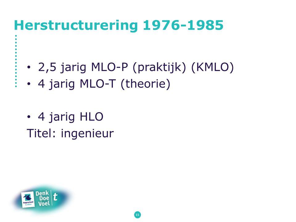 Herstructurering 1976-1985 2,5 jarig MLO-P (praktijk) (KMLO) 4 jarig MLO-T (theorie) 4 jarig HLO Titel: ingenieur 15