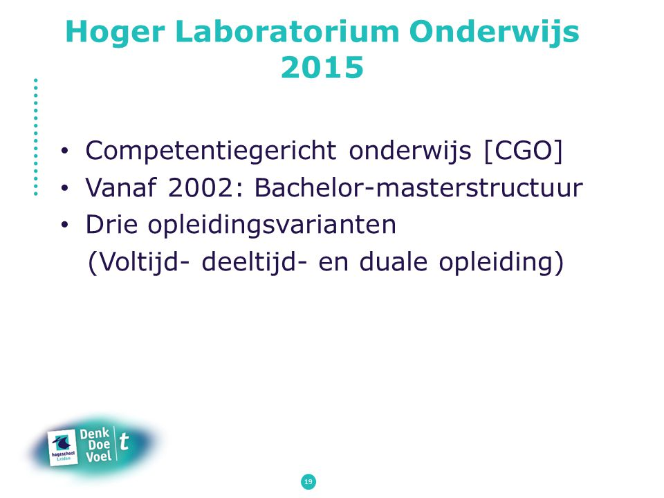 Hoger Laboratorium Onderwijs 2015 Competentiegericht onderwijs [CGO] Vanaf 2002: Bachelor-masterstructuur Drie opleidingsvarianten (Voltijd- deeltijd-