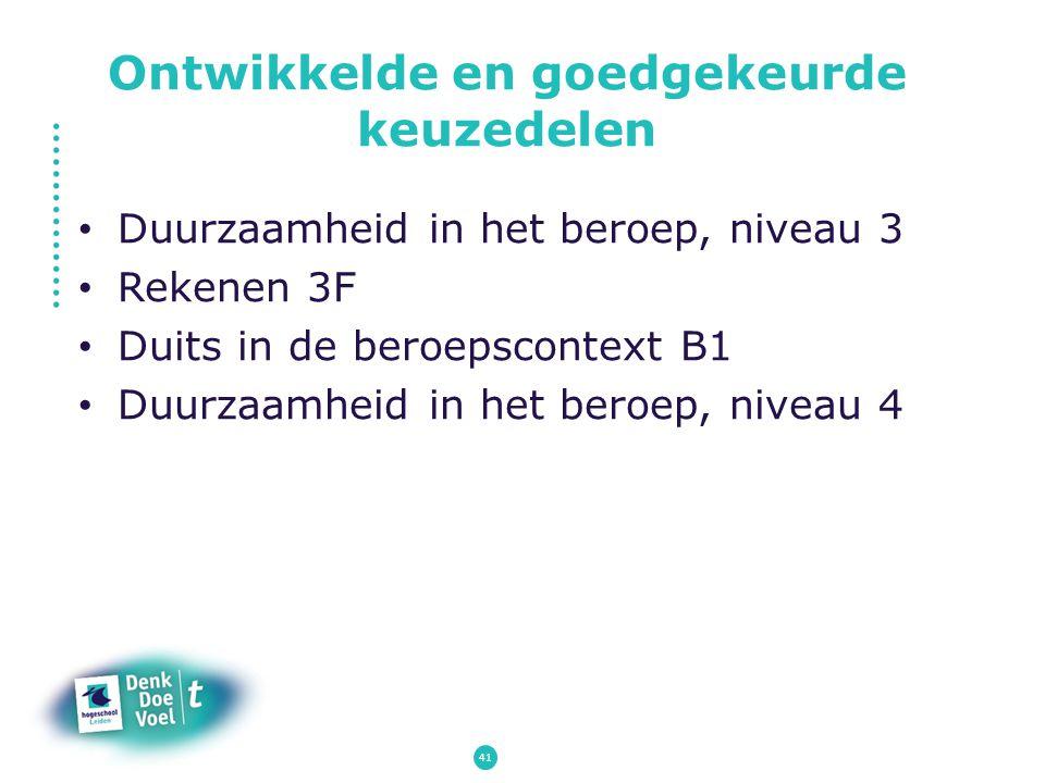 Duurzaamheid in het beroep, niveau 3 Rekenen 3F Duits in de beroepscontext B1 Duurzaamheid in het beroep, niveau 4 Ontwikkelde en goedgekeurde keuzede