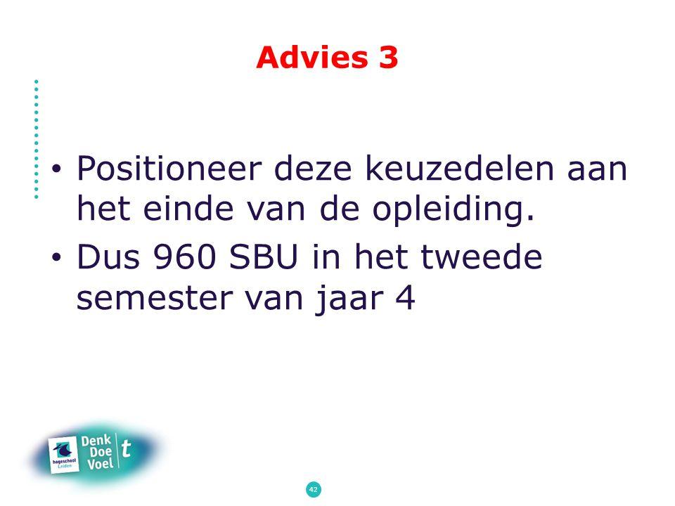 Advies 3 Positioneer deze keuzedelen aan het einde van de opleiding. Dus 960 SBU in het tweede semester van jaar 4 42