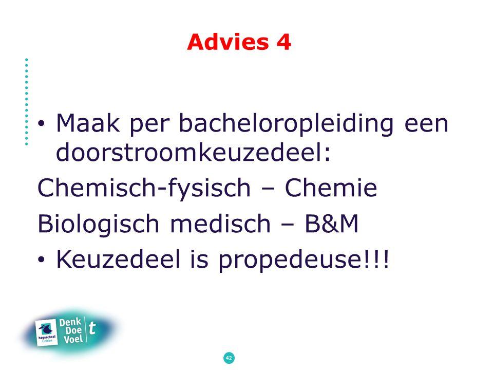 Advies 4 Maak per bacheloropleiding een doorstroomkeuzedeel: Chemisch-fysisch – Chemie Biologisch medisch – B&M Keuzedeel is propedeuse!!! 42