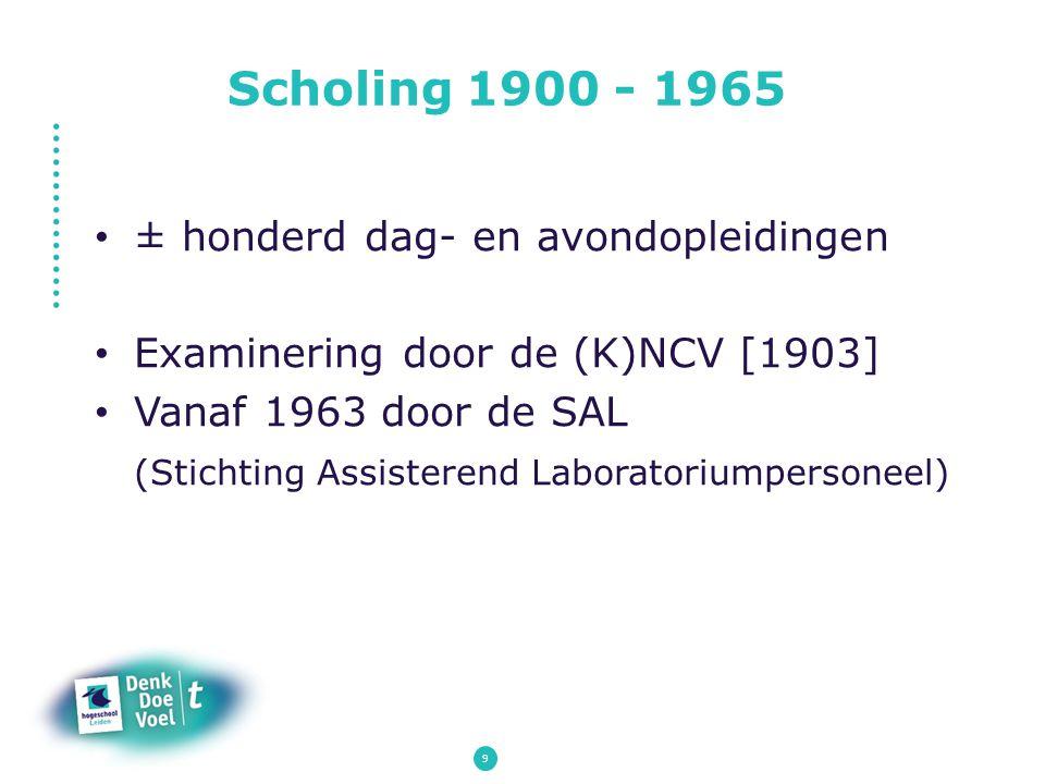 Scholing 1900 - 1965 ± honderd dag- en avondopleidingen Examinering door de (K)NCV [1903] Vanaf 1963 door de SAL (Stichting Assisterend Laboratoriumpe