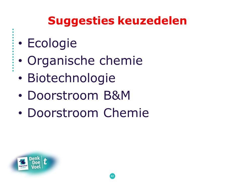 Suggesties keuzedelen Ecologie Organische chemie Biotechnologie Doorstroom B&M Doorstroom Chemie 42