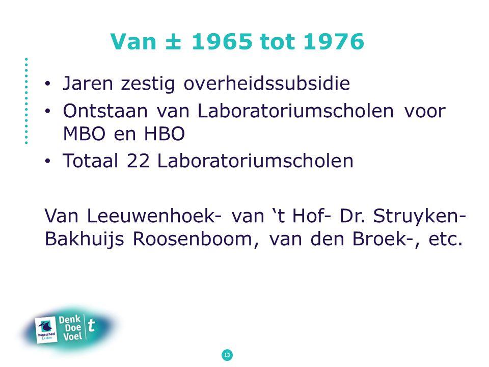 Van ± 1965 tot 1976 Jaren zestig overheidssubsidie Ontstaan van Laboratoriumscholen voor MBO en HBO Totaal 22 Laboratoriumscholen Van Leeuwenhoek- van