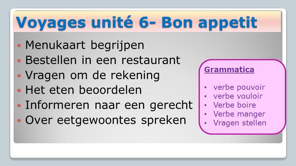 Menukaart begrijpen Bestellen in een restaurant Vragen om de rekening Het eten beoordelen Informeren naar een gerecht Over eetgewoontes spreken Voyage