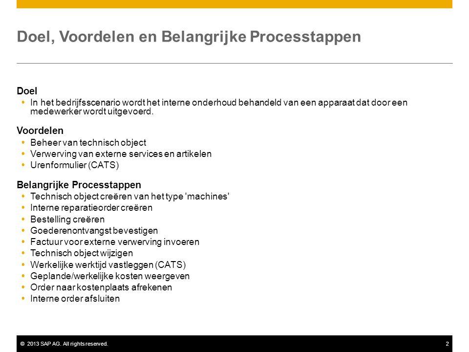 ©2013 SAP AG. All rights reserved.2 Doel, Voordelen en Belangrijke Processtappen Doel  In het bedrijfsscenario wordt het interne onderhoud behandeld