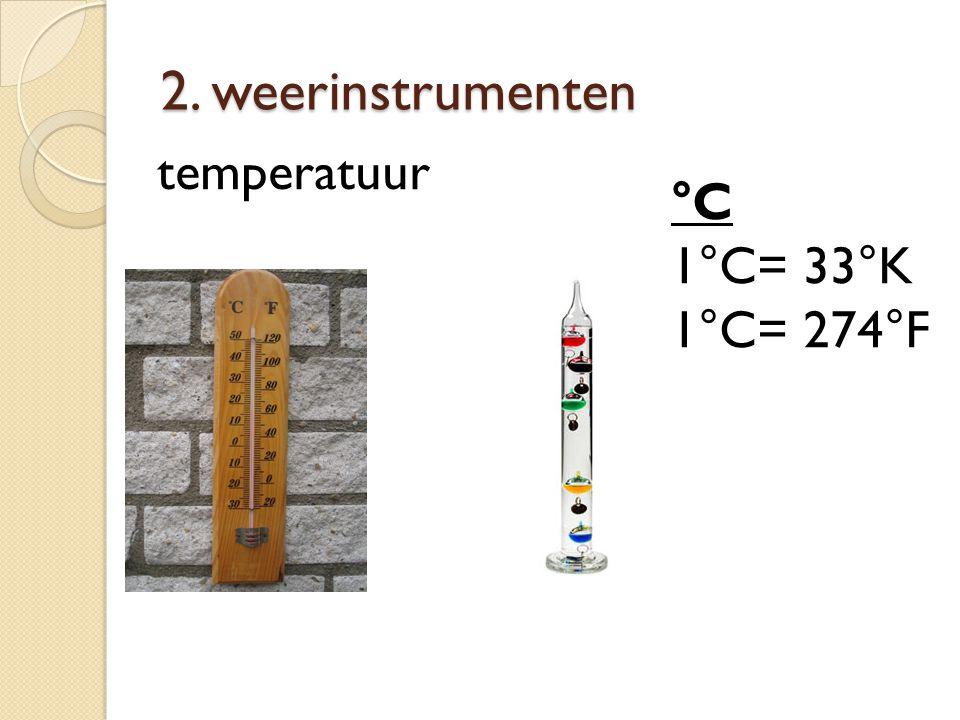 2. weerinstrumenten °C 1°C= 33°K 1°C= 274°F temperatuur