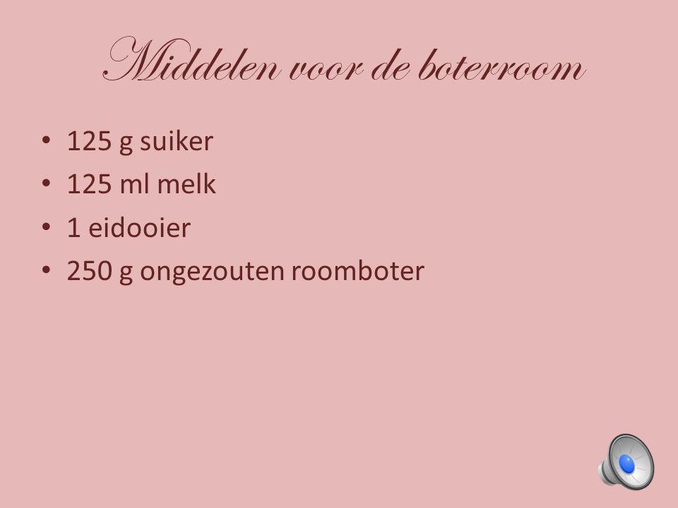 Middelen voor de boterroom 125 g suiker 125 ml melk 1 eidooier 250 g ongezouten roomboter