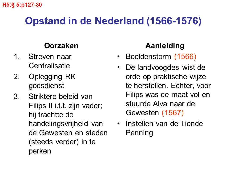 Opstand in de Nederland (1566-1576) Oorzaken 1.Streven naar Centralisatie 2.Oplegging RK godsdienst 3.Striktere beleid van Filips II i.t.t. zijn vader
