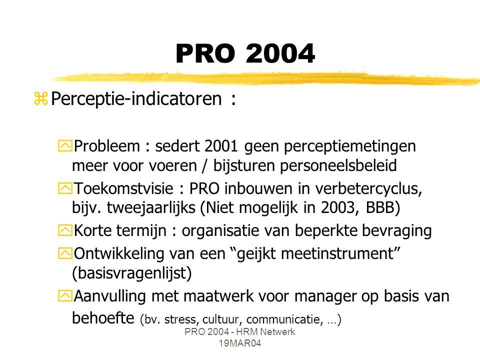PRO 2004 - HRM Netwerk 19MAR04 zPerceptie-indicatoren : yProbleem : sedert 2001 geen perceptiemetingen meer voor voeren / bijsturen personeelsbeleid yToekomstvisie : PRO inbouwen in verbetercyclus, bijv.