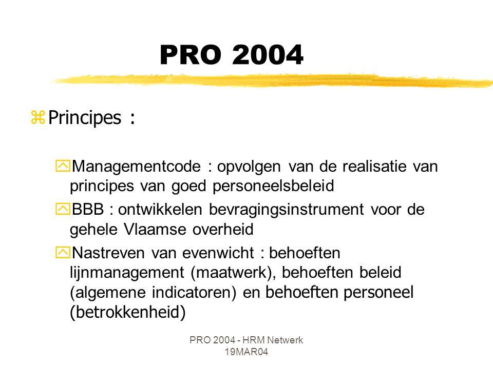 PRO 2004 - HRM Netwerk 19MAR04 zPrincipes : yManagementcode : opvolgen van de realisatie van principes van goed personeelsbeleid yBBB : ontwikkelen bevragingsinstrument voor de gehele Vlaamse overheid  Nastreven van evenwicht : behoeften lijnmanagement (maatwerk), behoeften beleid (algemene indicatoren) en behoeften personeel (betrokkenheid) PRO 2004
